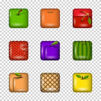 Ensemble d'icônes de fruits app