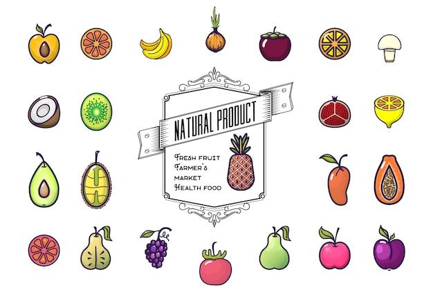 Ensemble d'icônes de fruits colorés isolés