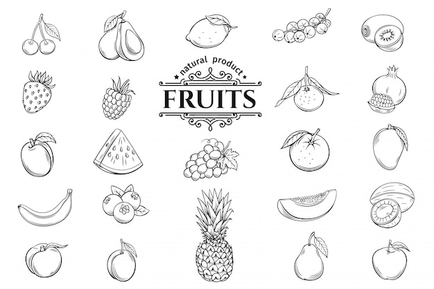 Ensemble d'icônes de fruits dessinés à la main