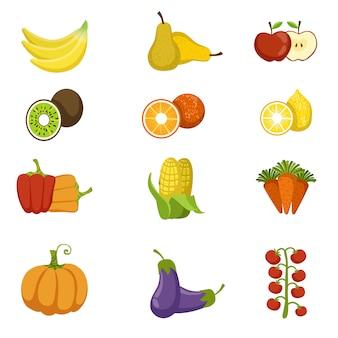 Ensemble d'icônes de fruits et légumes frais
