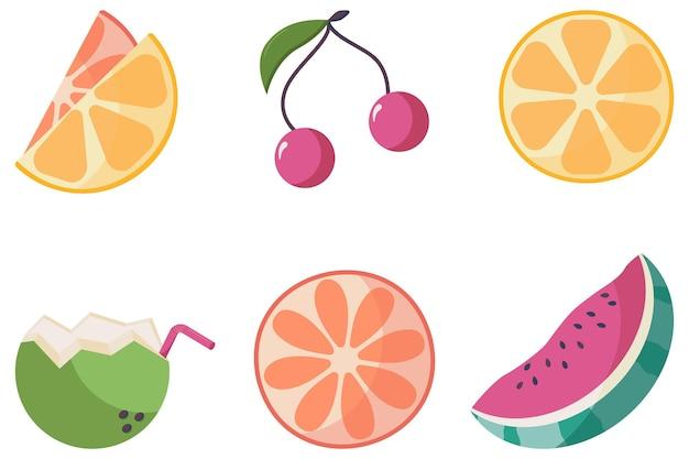 Un ensemble d'icônes de fruits tropicaux juteux