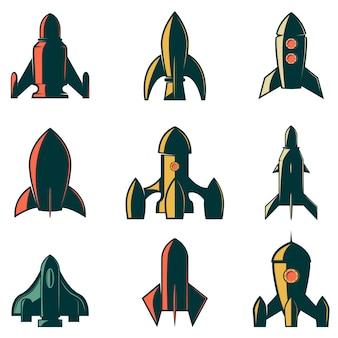 Ensemble des icônes de fusées. élément pour logo, étiquette, emblème, signe, marque. illustration.