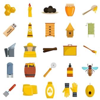 Ensemble d'icônes de gelée royale propolis miel
