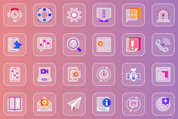 Ensemble d'icônes glassmorphic web service d'assistance