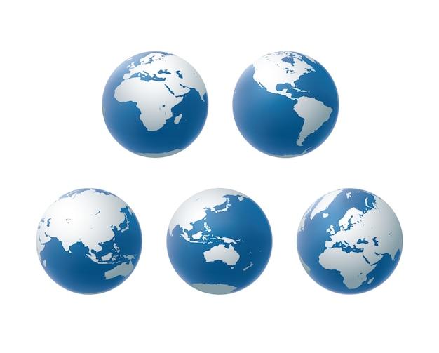 Ensemble d'icônes de globe de vecteur en vue de tout le continent