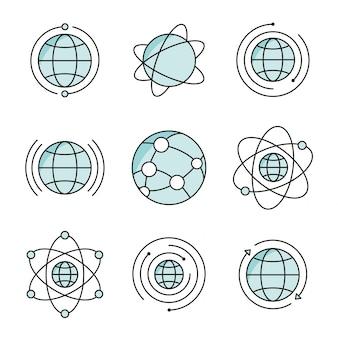 Ensemble d'icônes globe
