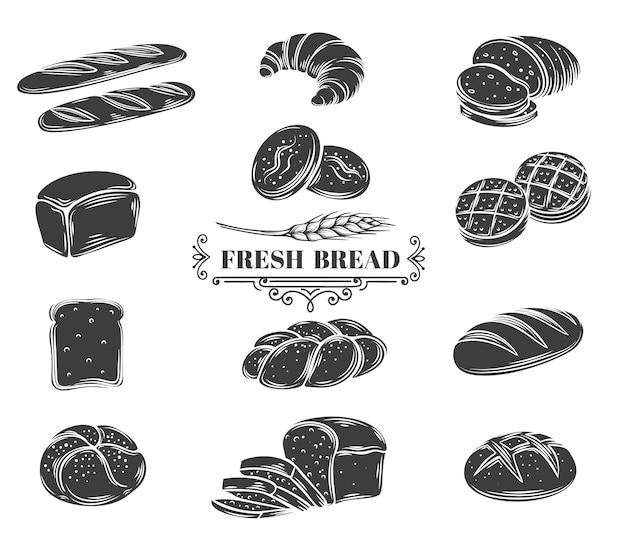 Ensemble d'icônes de glyphe de pain. pain de seigle, grains entiers et blé, ciabatta, croissant, pain grillé, baguette française.