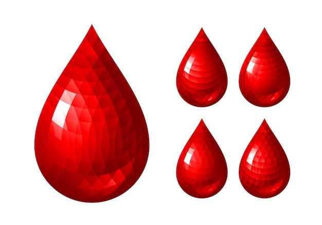 Ensemble d'icônes de goutte de sang rouge. rvb. couleurs globales. un dégradé utilisé