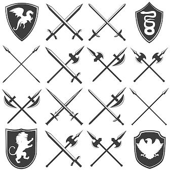 Ensemble d'icônes graphique héraldique armurerie