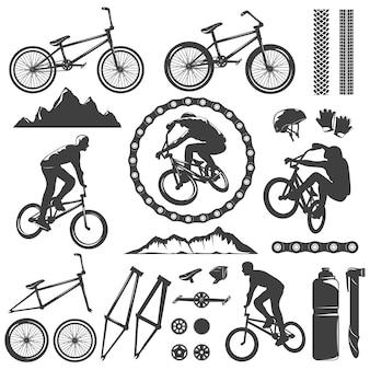 Ensemble d'icônes graphiques décoratives bmx