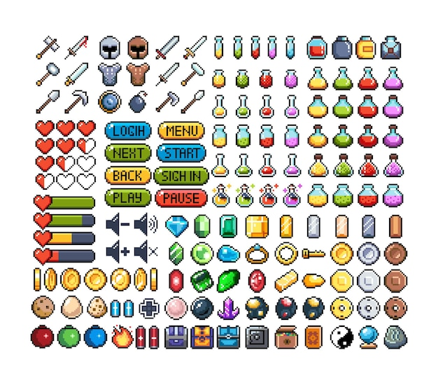 Ensemble d'icônes graphiques pixel 8 bits illustration vectorielle isolée art du jeu potions de bijoux d'armes