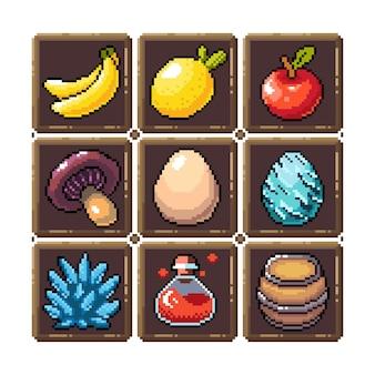 Ensemble d'icônes graphiques pixel 8 bits illustration vectorielle isolée élixir potions champignons oeufs