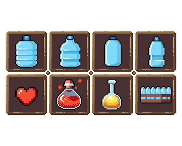 Ensemble d'icônes graphiques pixel 8 bits illustration vectorielle isolée oeufs de potions d'élixir de fruits