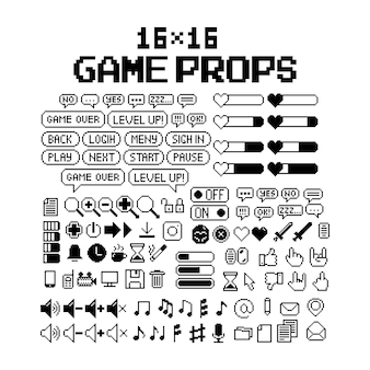 Ensemble d'icônes graphiques en pixels 8 bits illustration vectorielle isolée image en noir et blanc de l'art du jeu
