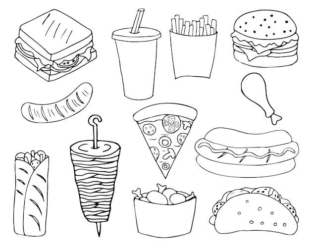 Ensemble d'icônes de griffonnage de restauration rapide. illustrations de restauration rapide dessinées à la main en vecteur.
