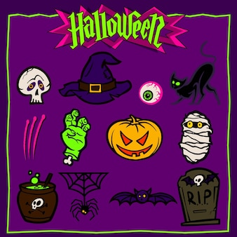 Ensemble d'icônes d'halloween de couleur. illustration vectorielle
