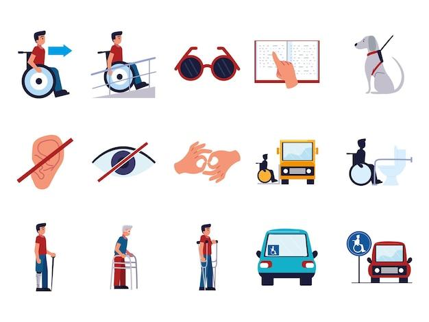 Ensemble d'icônes de handicap