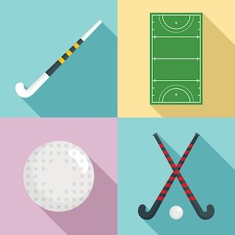 Ensemble d'icônes de hockey sur gazon, style plat