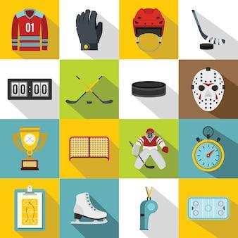 Ensemble d'icônes de hockey, style plat
