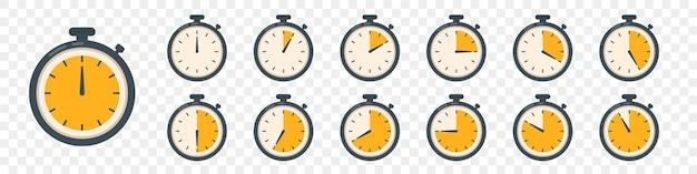 Ensemble d'icônes d'horloge de minuterie. collection de chronomètres