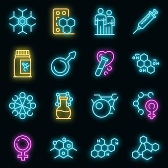 Ensemble d'icônes d'hormones. ensemble de contour d'hormones vectorielles icônes couleur néon sur fond noir