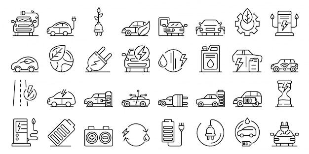 Ensemble d'icônes hybrides, style de contour