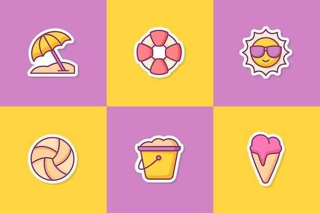 Ensemble d'icônes d'icônes d'autocollant d'été avec style de contour de couleur