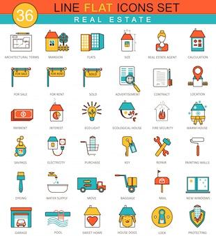Ensemble d'icônes immobilier ligne plate