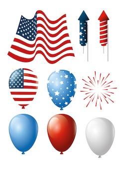 Ensemble d'icônes de l'indépendance des états-unis