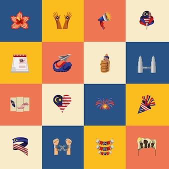 Ensemble d'icônes de l'indépendance de la malaisie