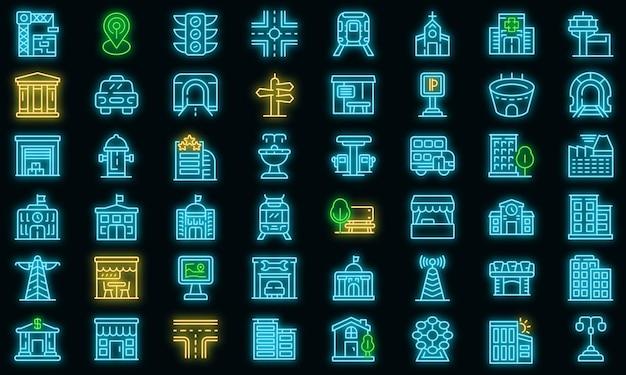 Ensemble d'icônes d'infrastructure de la ville. ensemble de contour d'icônes vectorielles d'infrastructure de la ville couleur néon sur fond noir