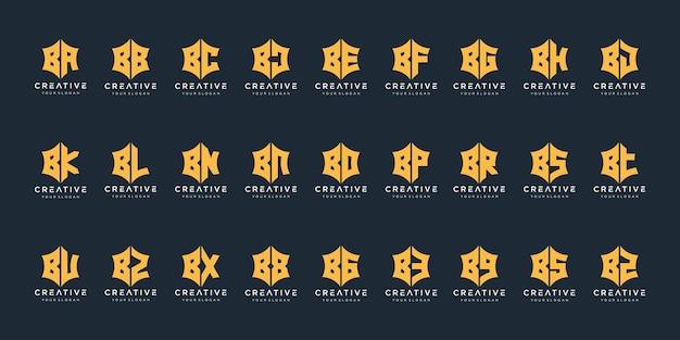 Ensemble d'icônes d'inspiration de conception de logo monogramme b créatif pour les entreprises de luxe élégant simple