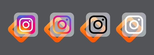 Ensemble d'icônes instagram. icônes de médias sociaux. style de glassmorphisme. ensemble d'applications instagram réaliste. interface utilisateur ui ux. logo. vecteur. zaporizhzhia, ukraine - 24 juillet 2021