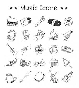 Ensemble d'icônes d'instruments de musique dans un style doodle