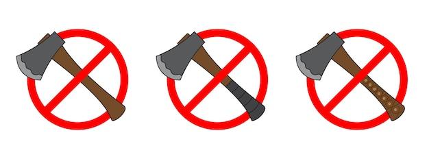 Ensemble d'icônes d'interdiction d'une hache