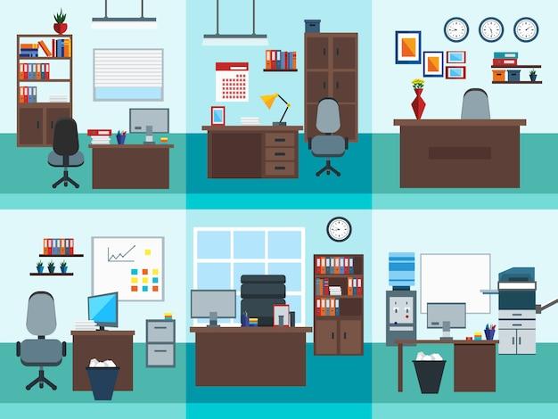 Ensemble d'icônes d'intérieur de bureau