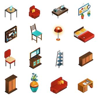 Ensemble d'icônes intérieur de maison