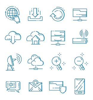 Ensemble d'icônes internet et web avec style de contour