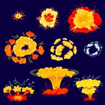 Ensemble d'icônes isolé d'explosion de bombe. détonation explosive dynamite danger et nuages de bandes dessinées atomiques.