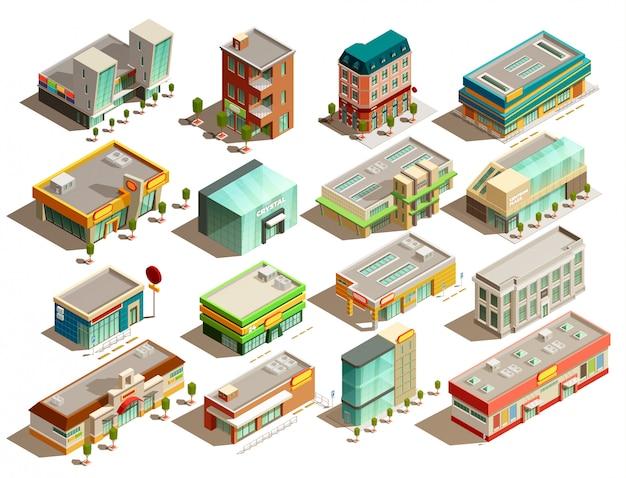 Ensemble d'icônes isométrique de bâtiments de magasin
