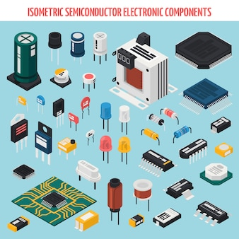 Ensemble d'icônes isométrique de composants électroniques semi-conducteurs
