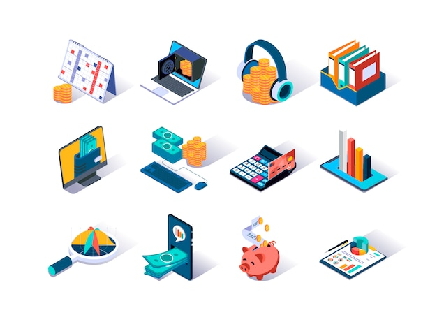 Ensemble d'icônes isométrique de comptabilité et d'audit.