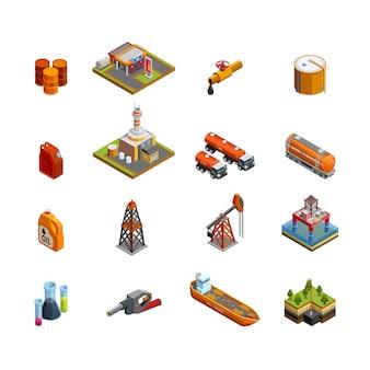 Ensemble d'icônes isométrique de l'industrie pétrolière