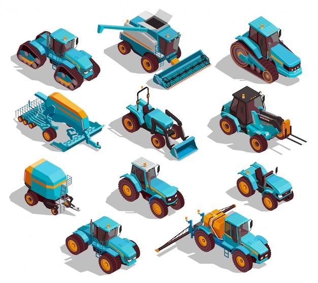 Ensemble d'icônes isométrique de machines agricoles