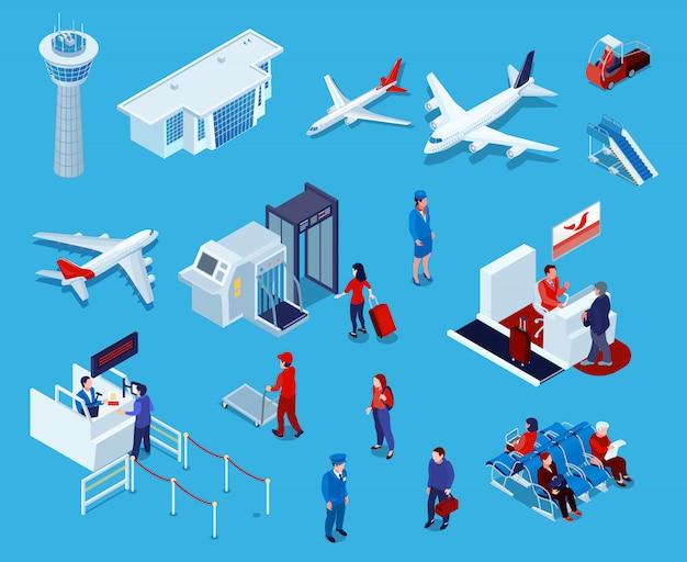 Ensemble d'icônes isométriques de l'aéroport