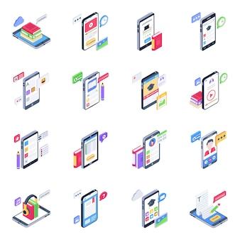 Ensemble d'icônes isométriques d'apprentissage mobile