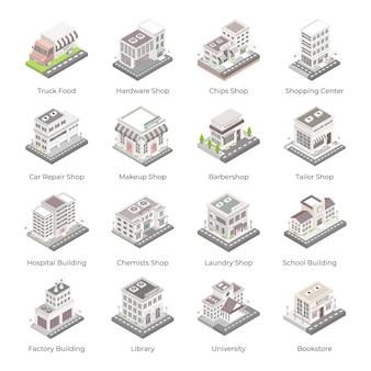 Ensemble d'icônes isométriques de bâtiments et architectures