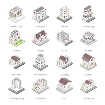 Ensemble d'icônes isométriques de bâtiments commerciaux