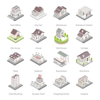 Ensemble d'icônes isométriques de bâtiments modernes