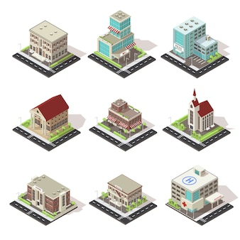 Ensemble d'icônes isométriques de bâtiments et de routes de la ville